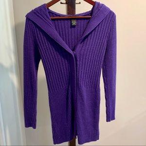 purple hooded sweater dress